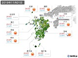 2019年11月01日の九州地方の実況天気