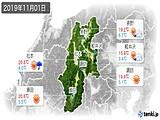 2019年11月01日の長野県の実況天気
