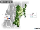 2019年11月01日の宮城県の実況天気