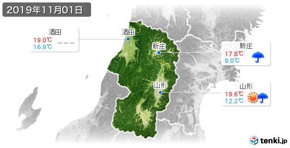 山形県(2019年11月01日の天気