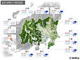 2019年11月03日の関東・甲信地方の実況天気