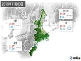 2019年11月03日の三重県の実況天気