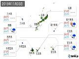 2019年11月03日の沖縄県の実況天気