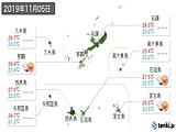 2019年11月05日の沖縄県の実況天気