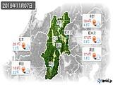 2019年11月07日の長野県の実況天気