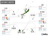 2019年11月07日の沖縄県の実況天気