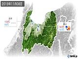 2019年11月08日の富山県の実況天気