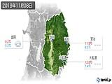 2019年11月08日の岩手県の実況天気