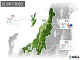 2019年11月09日の新潟県の実況天気
