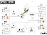 2019年11月09日の沖縄県の実況天気