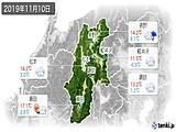 2019年11月10日の長野県の実況天気