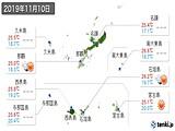 2019年11月10日の沖縄県の実況天気