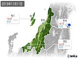 2019年11月11日の新潟県の実況天気