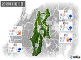 2019年11月11日の長野県の実況天気