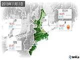 2019年11月11日の三重県の実況天気