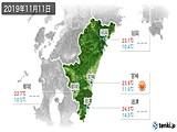 2019年11月11日の宮崎県の実況天気