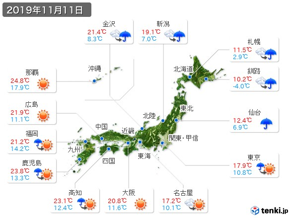 過去の天気(実況天気・2019年11月11日) - 日本気象協会 tenki.jp