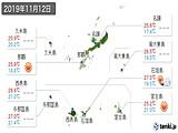 2019年11月12日の沖縄県の実況天気