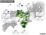 2019年11月25日の近畿地方の実況天気