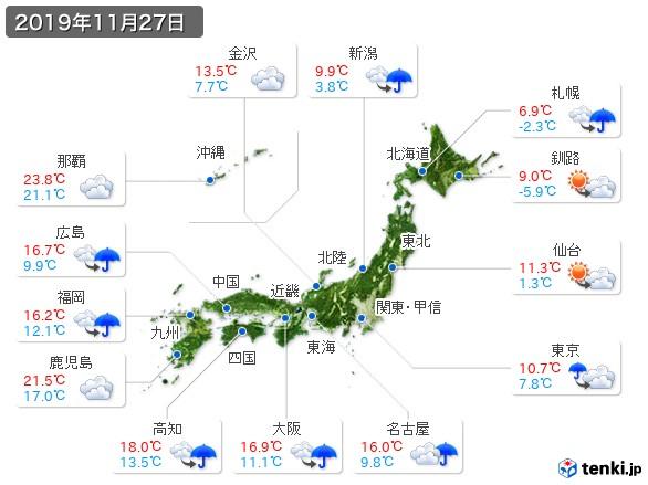過去の天気(実況天気・2019年11月27日) - 日本気象協会 tenki.jp