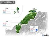 2019年12月01日の島根県の実況天気