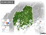 2019年12月01日の広島県の実況天気