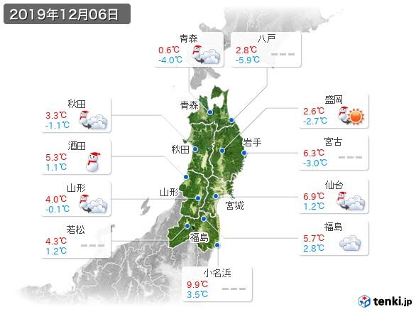 東北地方(2019年12月06日の天気