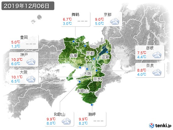近畿地方(2019年12月06日の天気