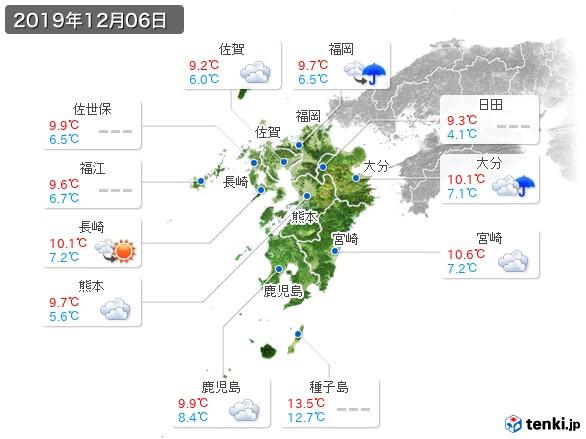 九州地方(2019年12月06日の天気