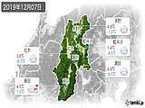 2019年12月07日の長野県の実況天気