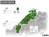 2019年12月07日の島根県の実況天気