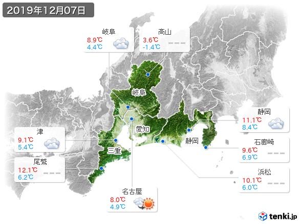 東海地方(2019年12月07日の天気