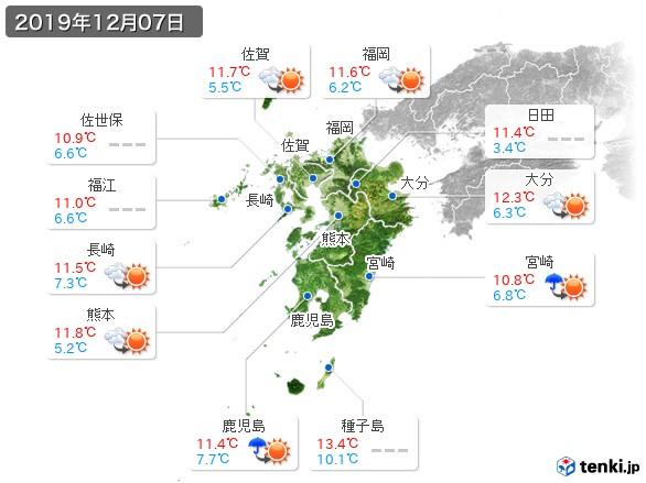 九州地方(2019年12月07日の天気