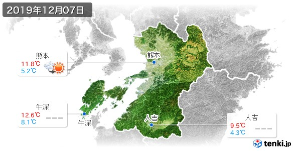 熊本県(2019年12月07日の天気