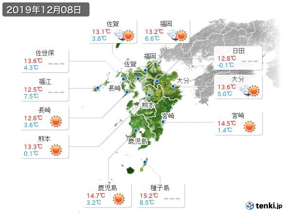 九州地方(2019年12月08日の天気