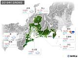 2019年12月09日の東海地方の実況天気