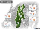 2019年12月09日の長野県の実況天気
