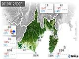2019年12月09日の静岡県の実況天気