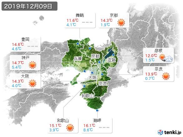 近畿地方(2019年12月09日の天気