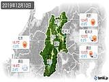 2019年12月10日の長野県の実況天気