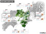 2019年12月11日の近畿地方の実況天気