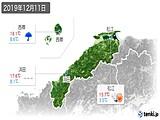 2019年12月11日の島根県の実況天気