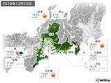 2019年12月12日の東海地方の実況天気
