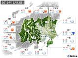 2019年12月13日の関東・甲信地方の実況天気