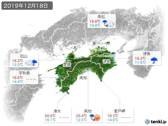 四国地方(2019年12月18日の天気