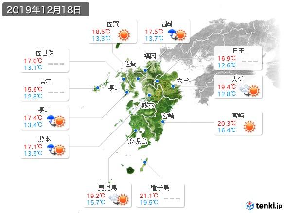 九州地方(2019年12月18日の天気