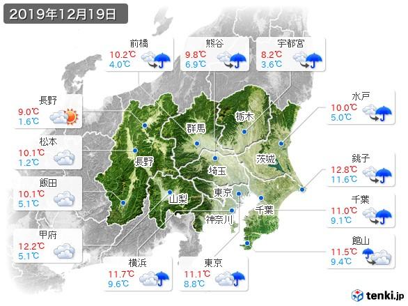 関東・甲信地方(2019年12月19日の天気