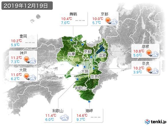 近畿地方(2019年12月19日の天気