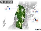 2019年12月23日の山形県の実況天気
