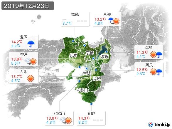 近畿地方(2019年12月23日の天気
